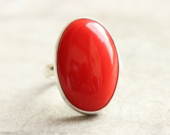 coral stone ring